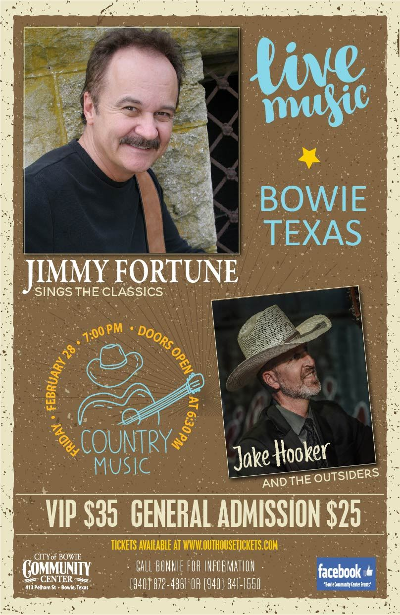 Bowie Community Center Jimmy Fortune-Jake Hooker concert poster